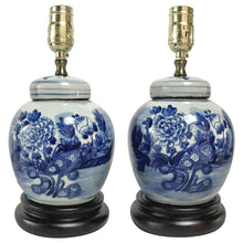 Pair of Chinese Style Blue and White Glazed Porcelain Lamps