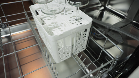 FluteSpa fits on the bottom tray of your dishwasher