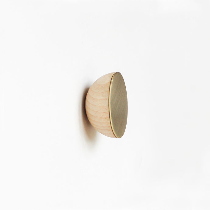 Round Beech Wood & Brass Wall Mounted Coat Hook / Knob