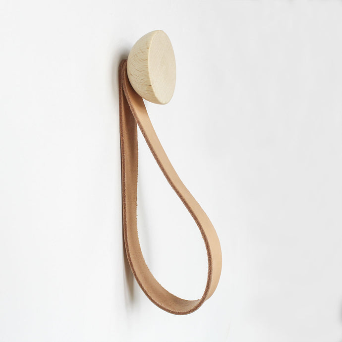 Round Beech Wood Wall Mounted Coat Hook / Hanger with Leather Strap