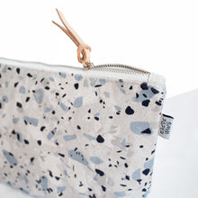 Cotton Canvas Cosmetic / Make-up Bag - Terrazzo Blue Grey I