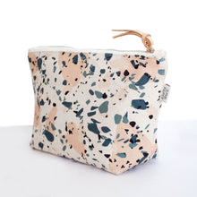 Cotton Canvas Cosmetic / Make-up Bag - Terrazzo Blue Peach II