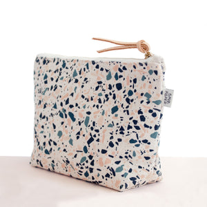 Cotton Canvas Cosmetic / Make-up Bag - Terrazzo Blue Peach I