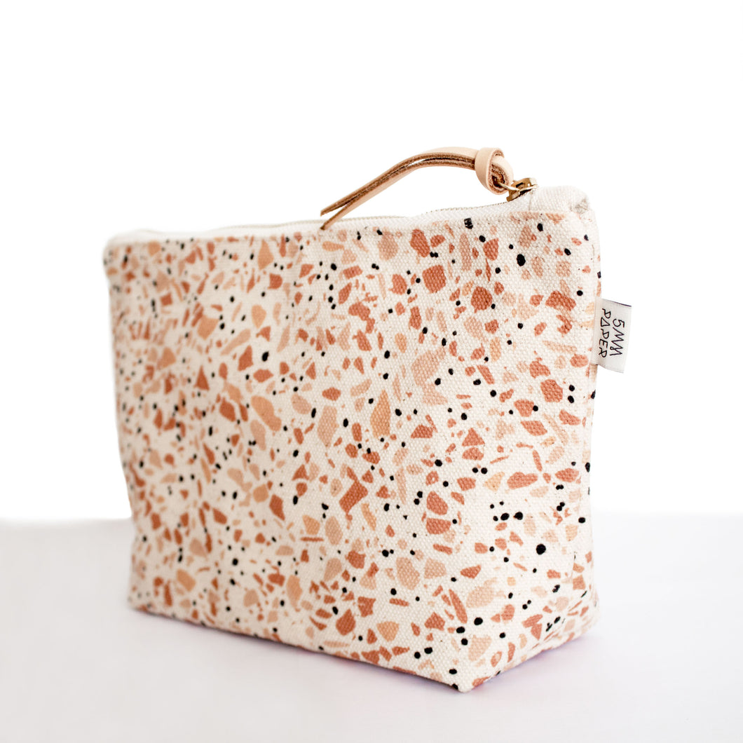 Cotton Canvas Cosmetic / Make-up Bag - Terrazzo Terracotta