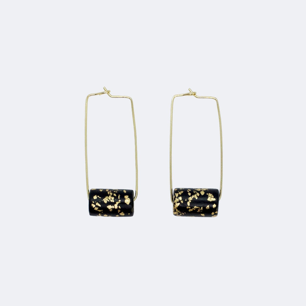 Gold Rectangle Earrings - Black & Specks Bead