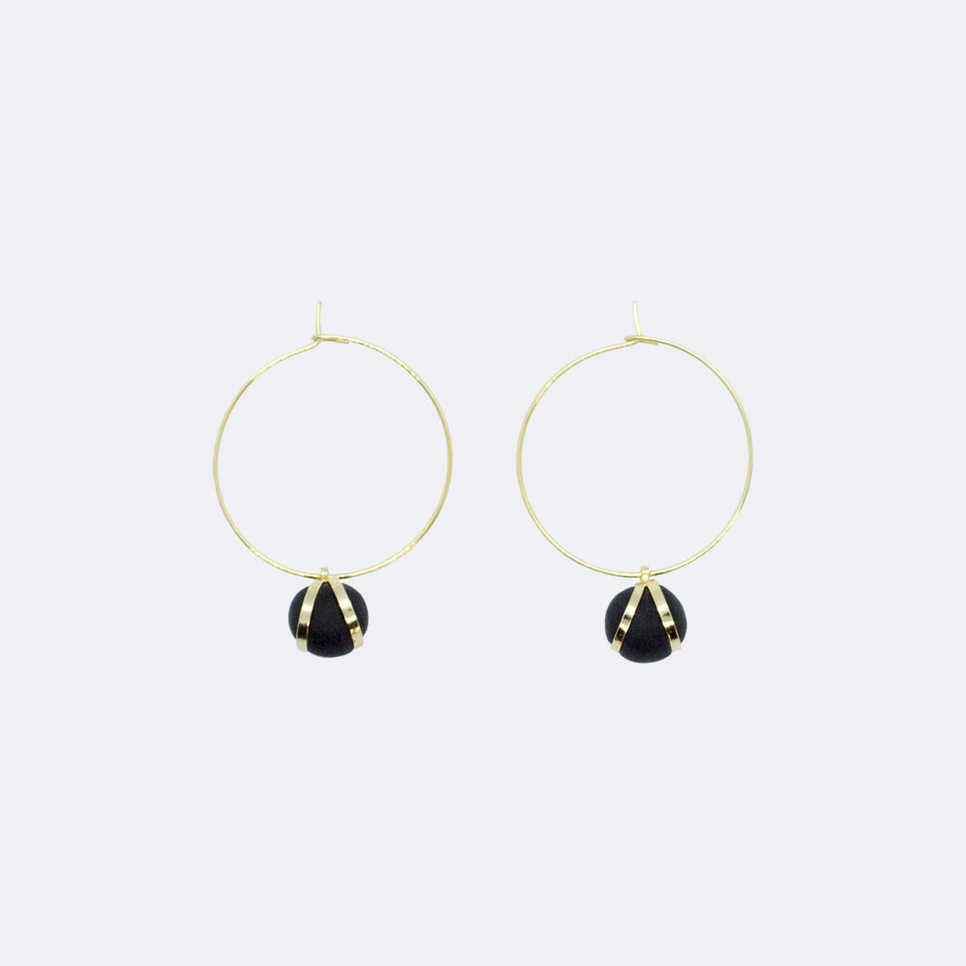 Gold Hoop Earrings - Black Ball Charm Pendant