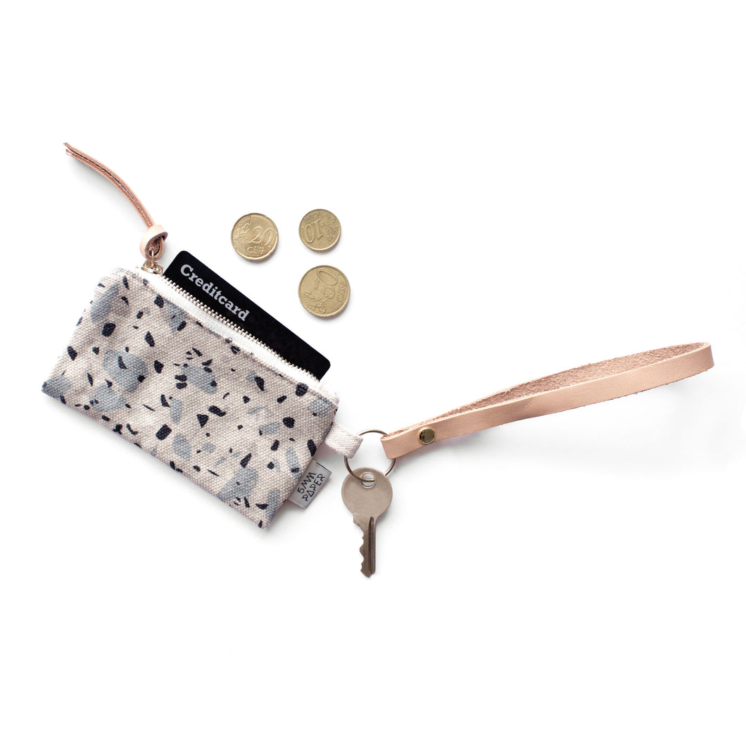 Leather Key Chain with Card/Coin Pouch - Terrazzo Blue Grey I