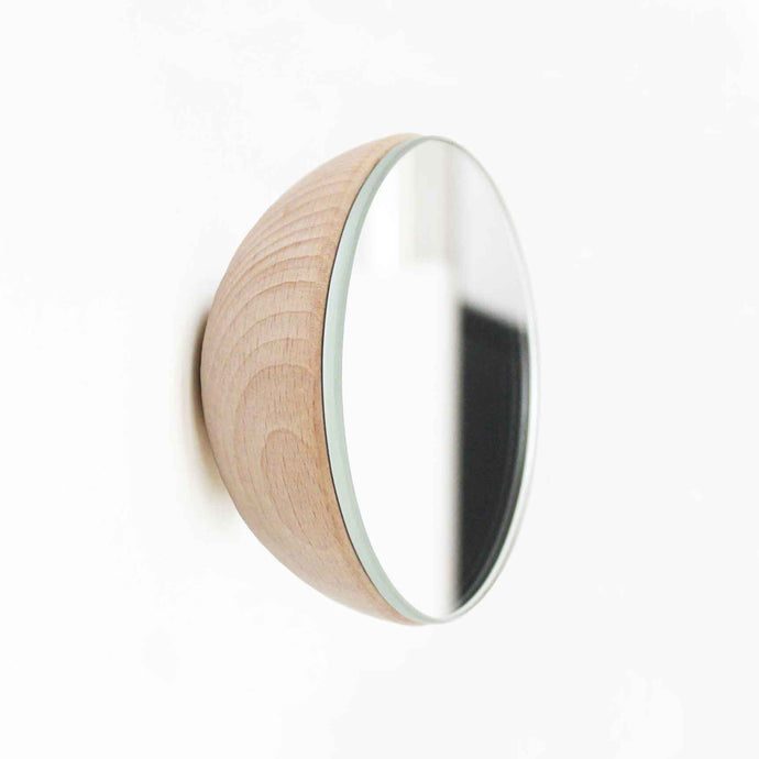 Round Beech Wood Wall Mounted Mirror Coat Hook