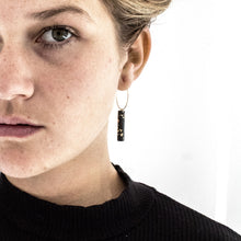 Gold Hoop Earrings - Black & Specks Bar Pendant