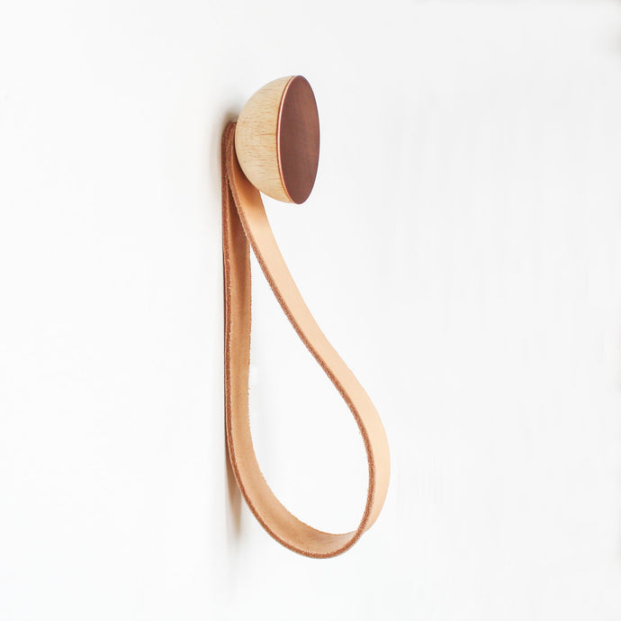Round Beech Wood & Copper Wall Mounted Coat Hook / Hanger with Leather Strap