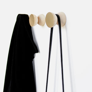 Geometric Beech Wood & Brass Wall Mounted Coat Hook / Knob