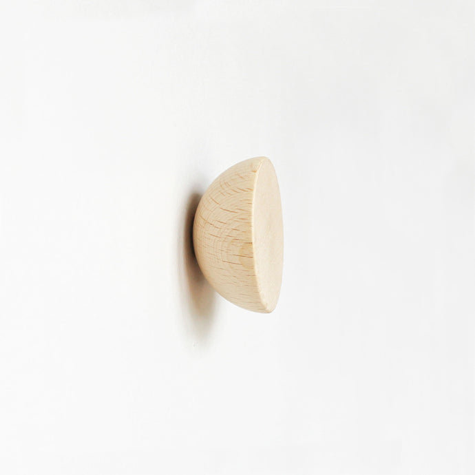 Round Beech Wood Wall Mounted Coat Hook / Knob