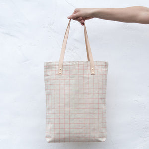 Cotton Canvas Tote Bag with Leather Straps - Salmon Pink Grid Lines
