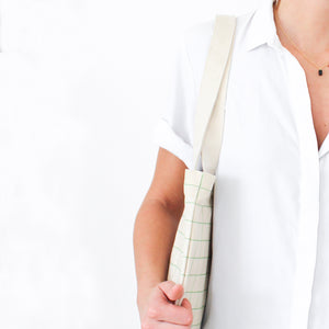 Cotton Canvas Tote bag - Mint Green Grid Lines