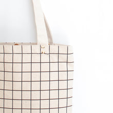 Cotton Canvas Tote bag - Black Grid Lines