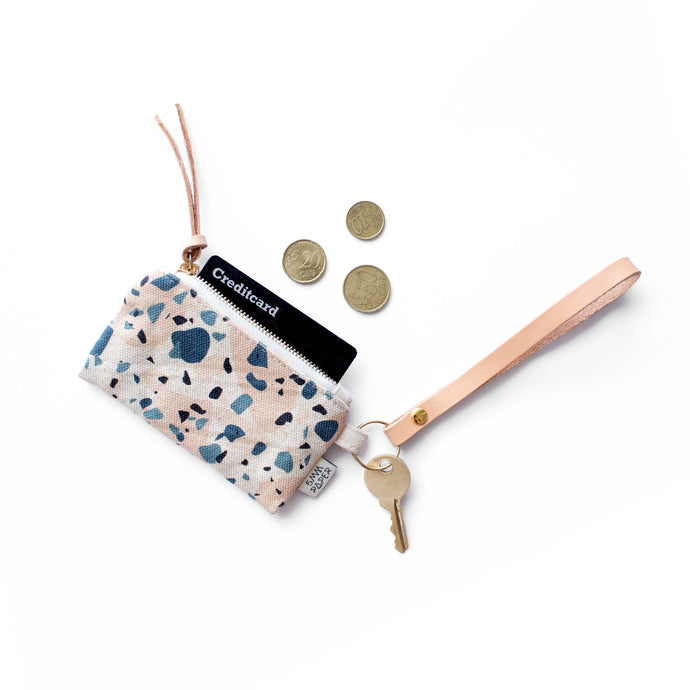 Leather Key Chain with Card/Coin Pouch - Terrazzo Blue Peach II