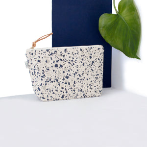 Cotton Canvas Cosmetic / Make-up Bag Terrazzo Blue Grey II