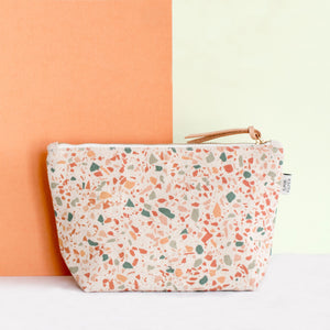 Cotton Canvas Cosmetic / Make-up Bag - Terrazzo Terracotta Green