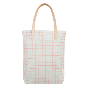 Tote Bag with Leather Straps - Salmon Pink Grid Lines