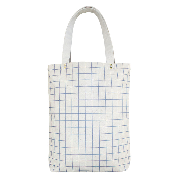 Cotton Canvas Tote bag - Ash Blue Grid Lines