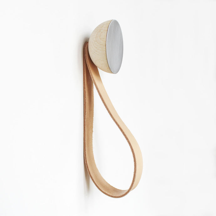 Round Beech Wood & Aluminium Wall Mounted Hook / Hanger with Leather Strap