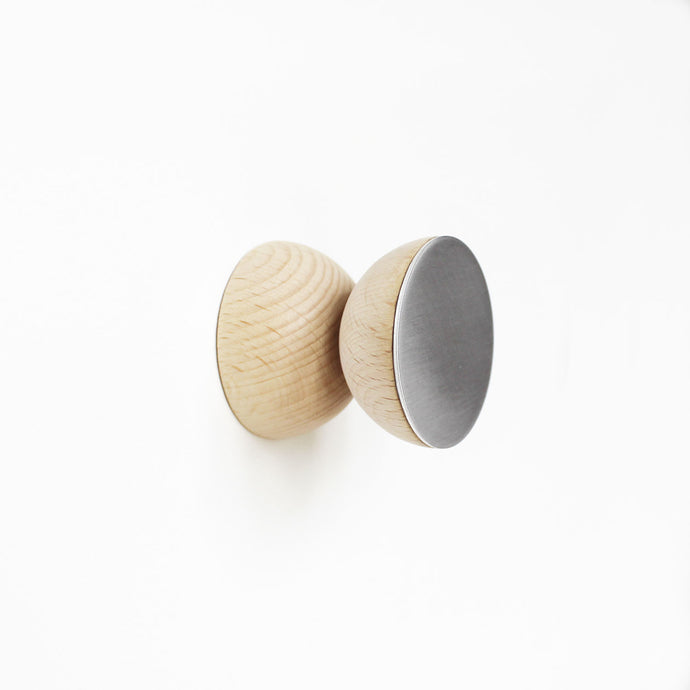 Geometric Beech Wood & Aluminium Wall Mounted Coat Hook / Knob