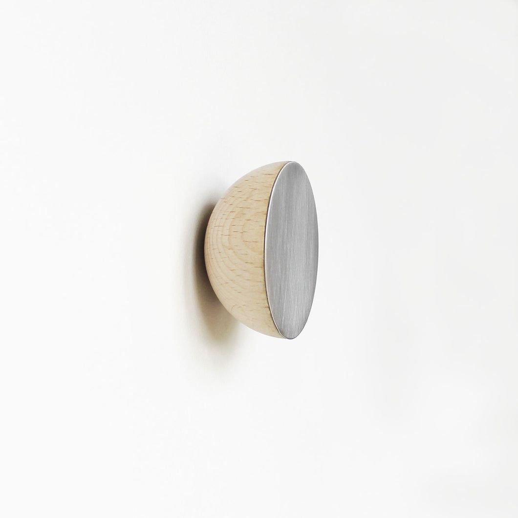 Round Beech Wood & Aluminium Wall Mounted Coat Hook / Knob