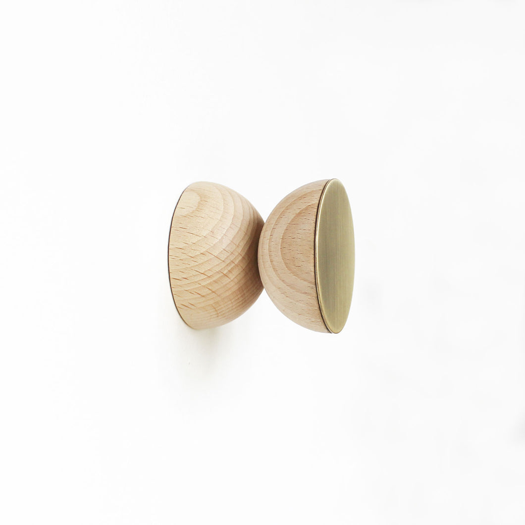 Double Beech Wood & Brass Wall Hook / Knob