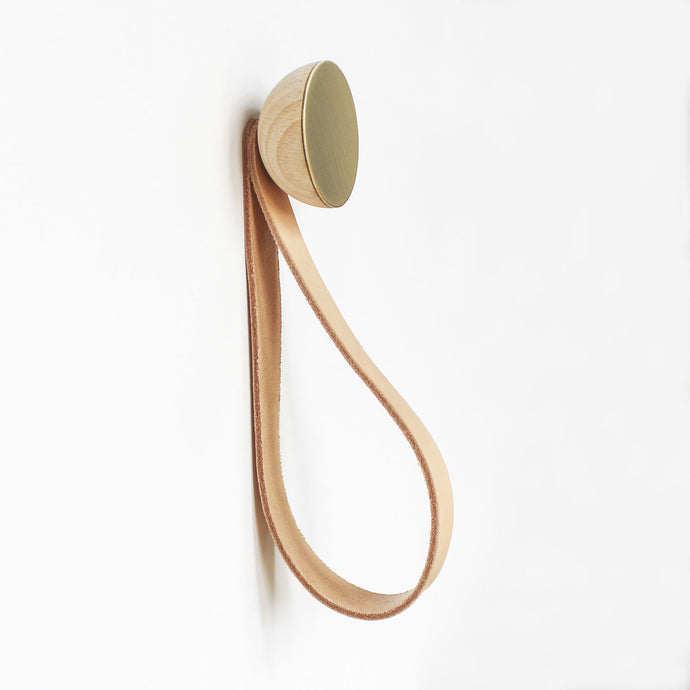 Round Beech Wood & Brass Wall Mounted Coat Hook / Hanger with Leather Strap