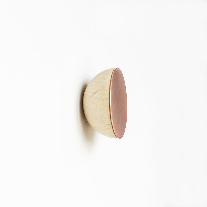 Round Beech Wood & Copper Wall Mounted Coat Hook / Knob
