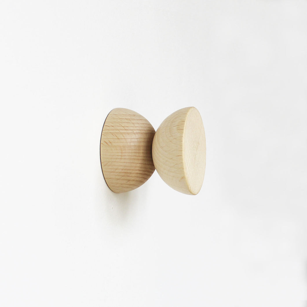 Geometric Beech Wood Wall Mounted Coat Hook / Knob