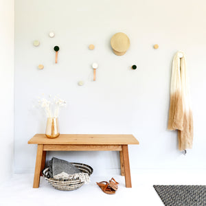 Round Beech Wood & Ceramic Wall Mounted Coat Hook / Hanger with Leather Strap - White Sand