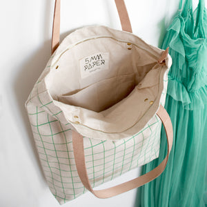 Cotton Canvas Tote Bag with Leather Straps - Mint Green Grid Lines