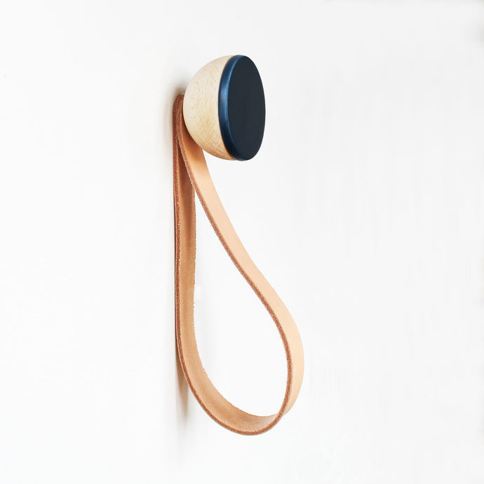 Round Beech Wood & Ceramic Wall Mounted Coat Hook / Hanger with Leather Strap - Dark Blue