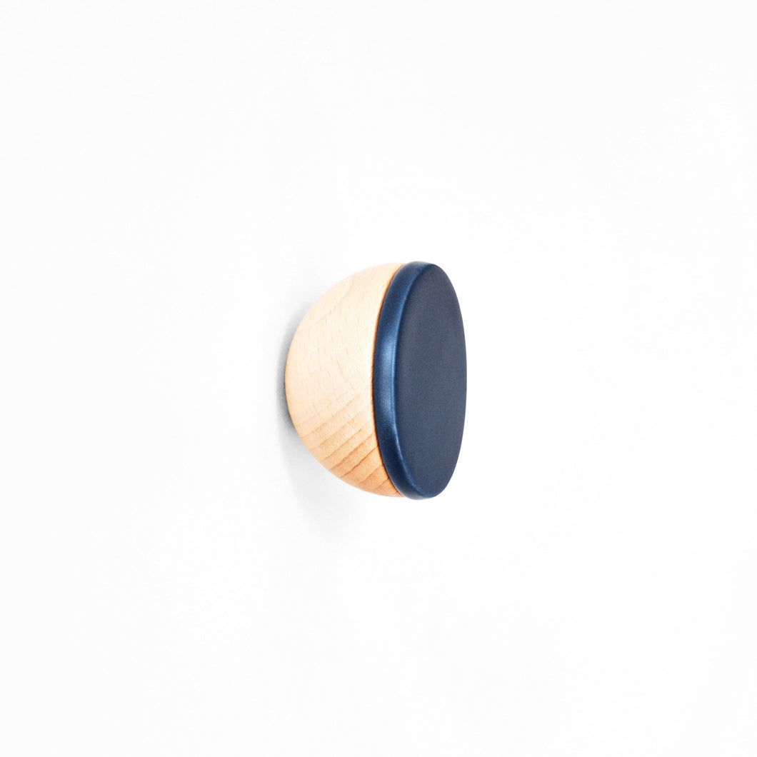 Round Beech Wood & Ceramic Wall Mounted Coat Hook / Knob - Dark Blue