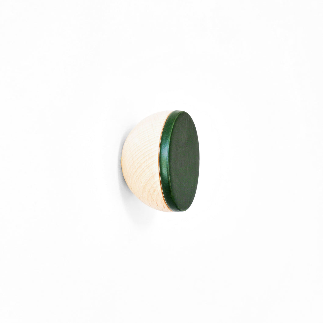 Round Beech Wood & Ceramic Wall Mounted Coat Hook / Knob - Dark Green