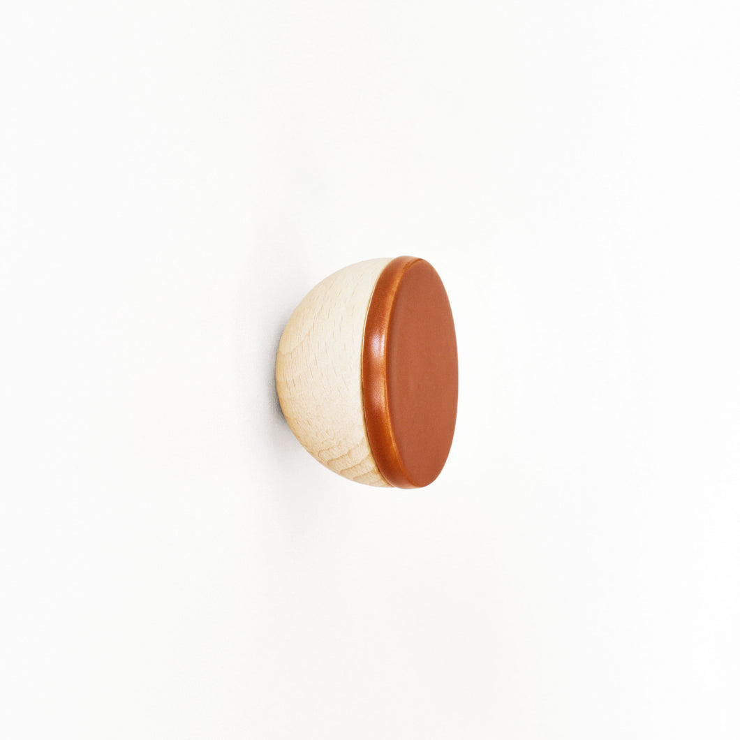 Round Beech Wood & Ceramic Wall Mounted Coat Hook / Knob - Dark Terracotta Orange