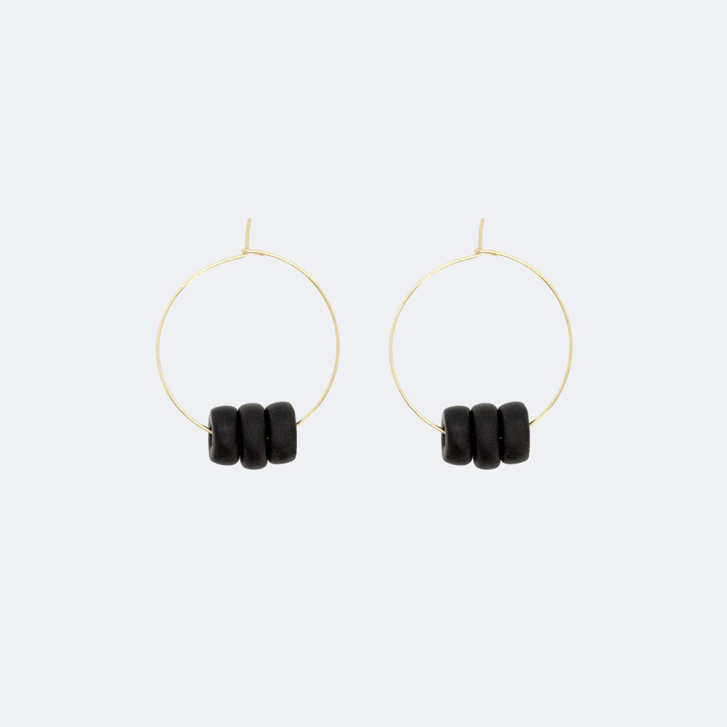 Gold Hoop Earrings - Black Disk Beads