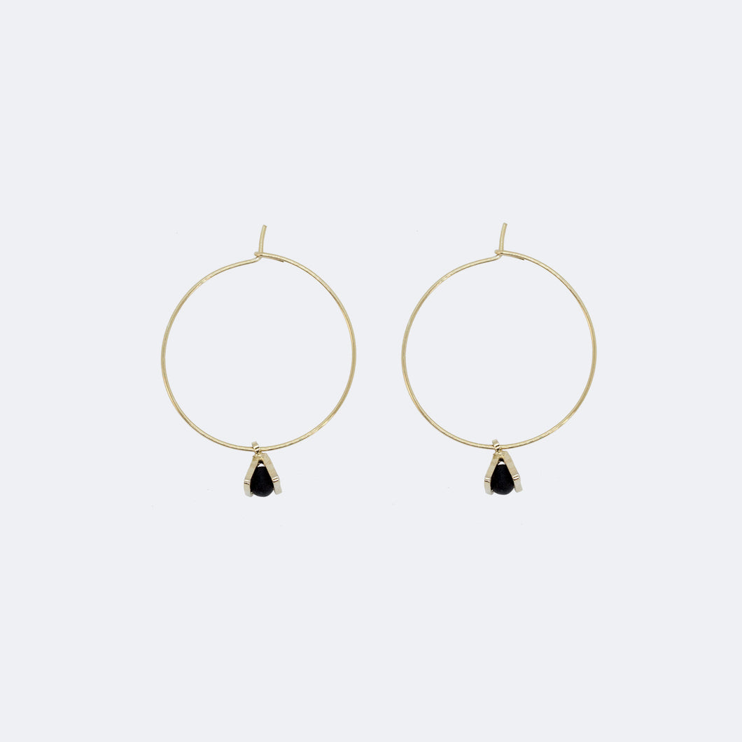 Gold Hoop Earrings - Tiny Triangle Charm