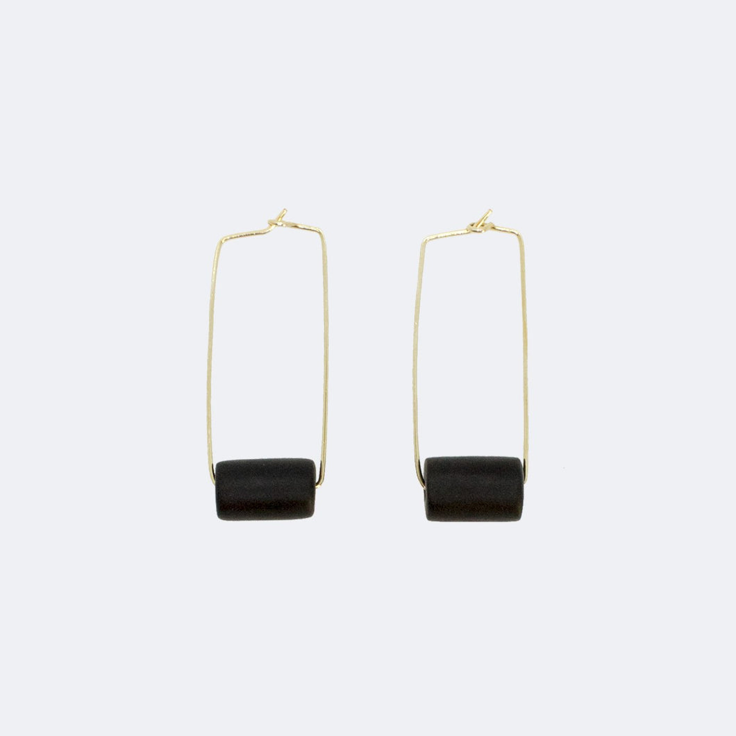 Gold Rectangle Earrings - Black Bead