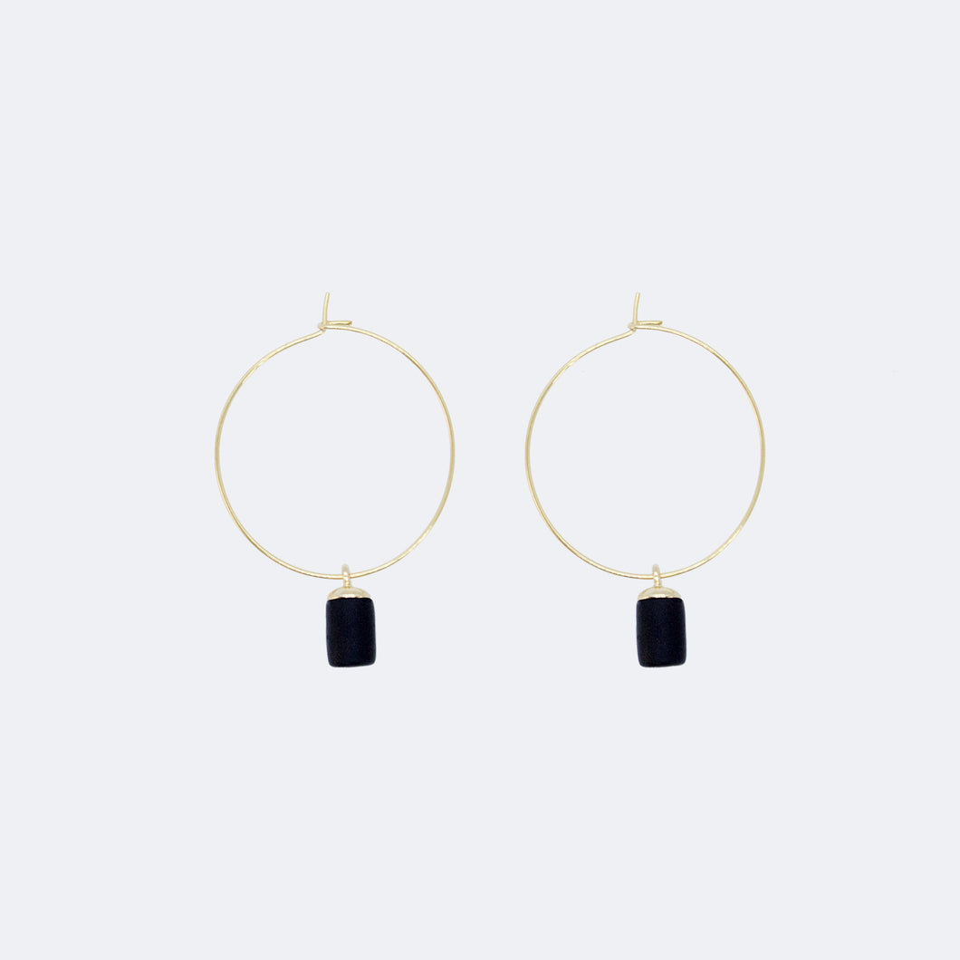 Gold Hoop Earrings - Tiny Weight Charm