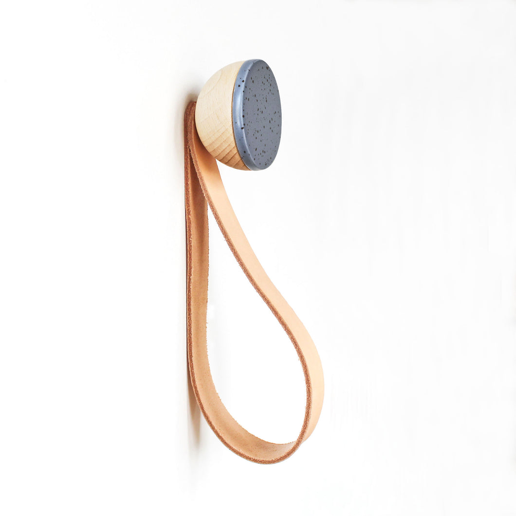Round Beech Wood & Ceramic Wall Mounted Coat Hook / Hanger with Leather Strap - Blue Black Specks