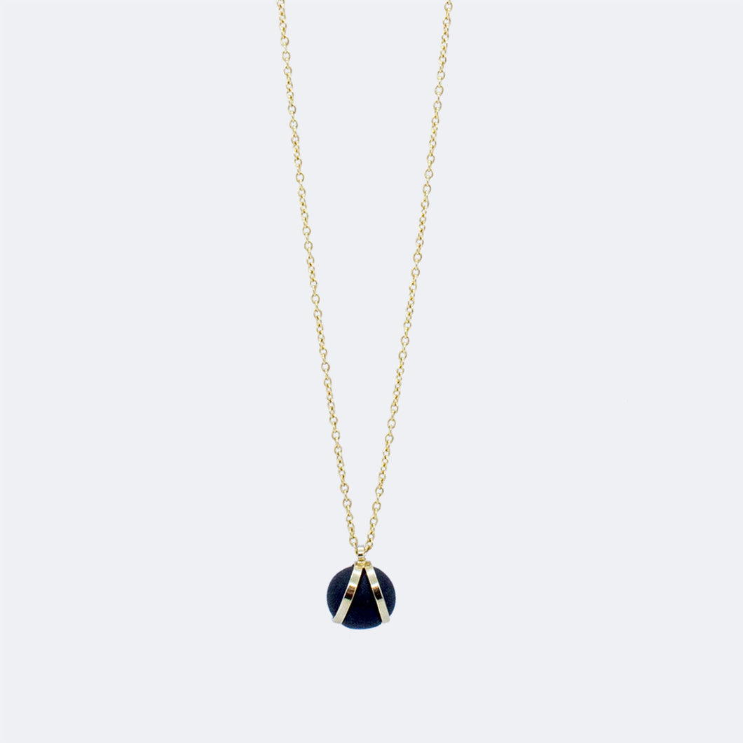 Gold Necklace - Black Ball Charm