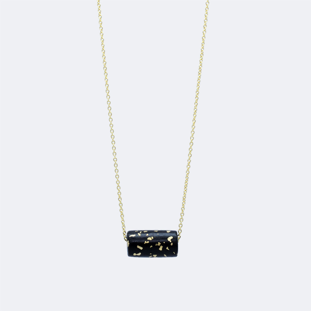 Gold Necklace - Black & Specks Bead