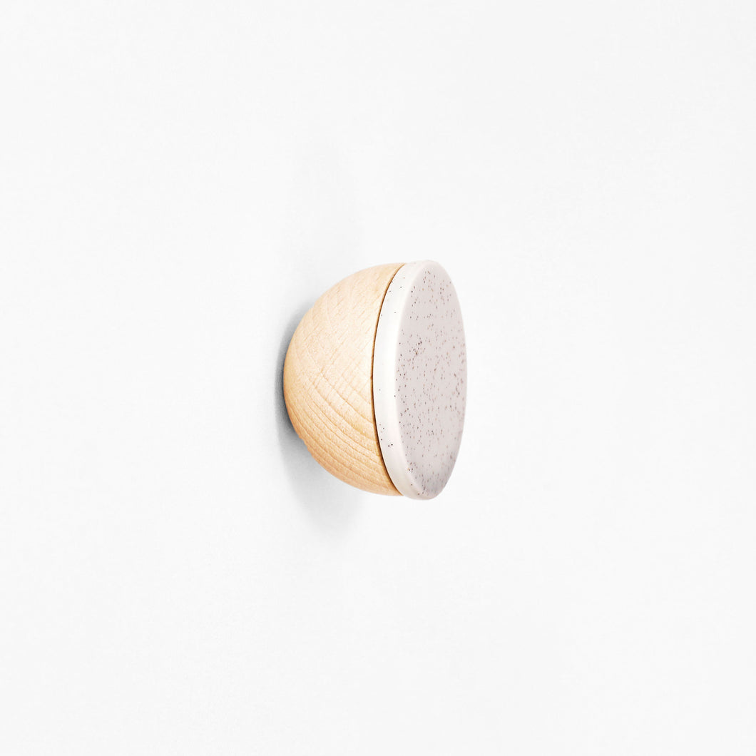Round Beech Wood & Ceramic Wall Mounted Coat Hook / Knob - Grey Sand