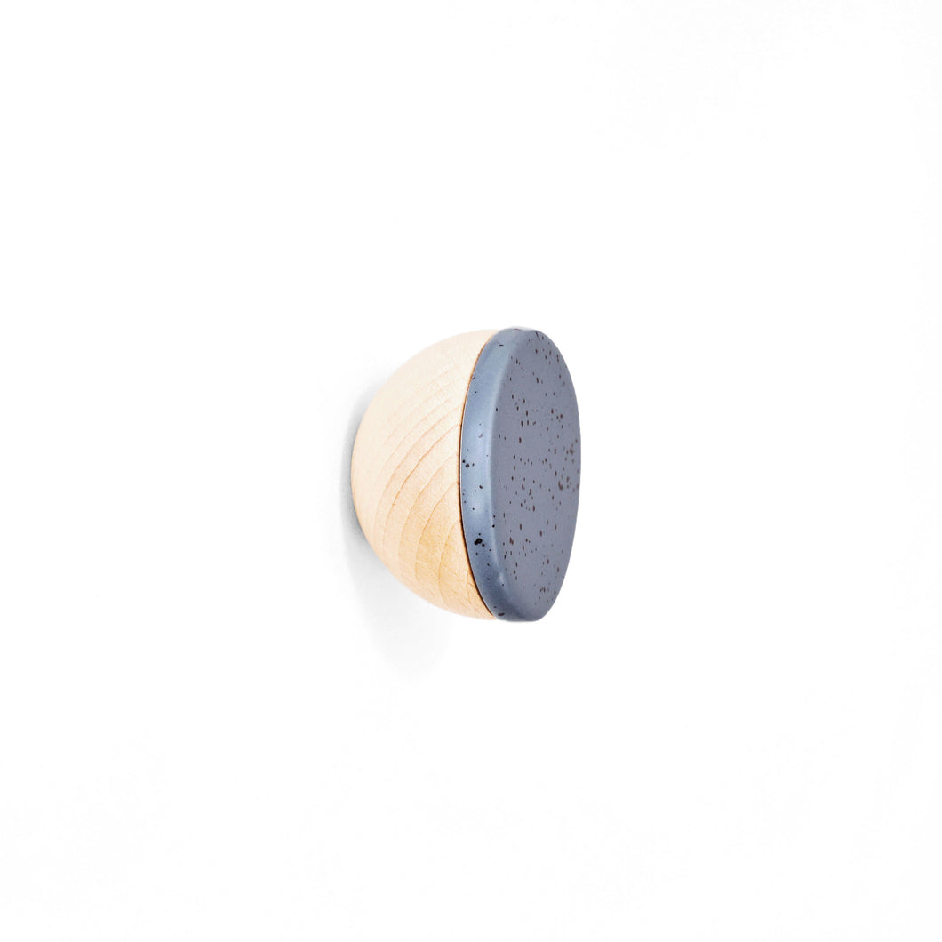 Round Beech Wood & Ceramic Wall Mounted Coat Hook / Knob - Blue Black Specks