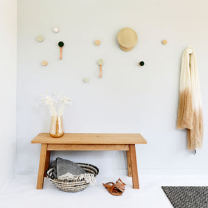 Round Beech Wood & Ceramic Wall Mounted Coat Hook / Hanger with Leather Strap - Green Black Specks