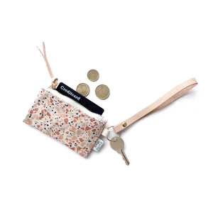 Leather Key Chain with Card/Coin Pouch - Terrazzo Terracotta