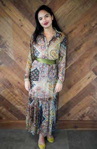 Long Sleeve Paisley Maxi