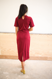 Burgundy Faire Short Sleeve Maxi Dress